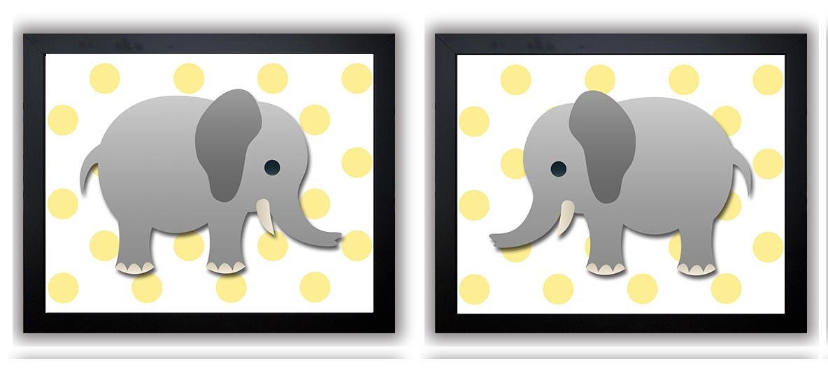 Yellow Polka dots Grey Gray Elephant Nursery Art Nursery Print Set of 2 Elephants Child Art Prints B