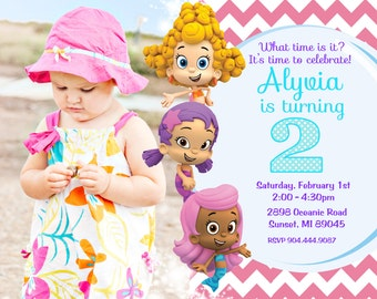 Bubble Guppies Birthday Party Invitation - Digital or Printed with FREE SHIPPING