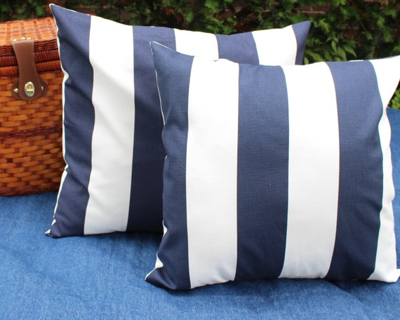 Ready Made Decorative Pillow Covers : Ready to Ship ONE Nautical Pillow Cover Wide Navy and White