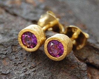 Gold Stud Earrings, Amethyst Studs, Amethyst Earrings, Organic Earrings, Gemstone Studs, Semi Precious Stones, Purple Stone, Round Studs
