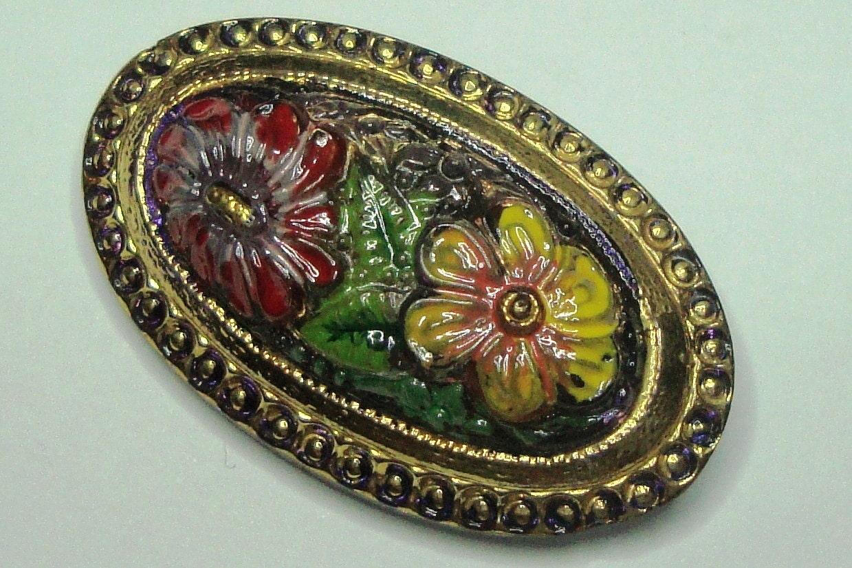 Czech Glass Button - oval - hand painted
