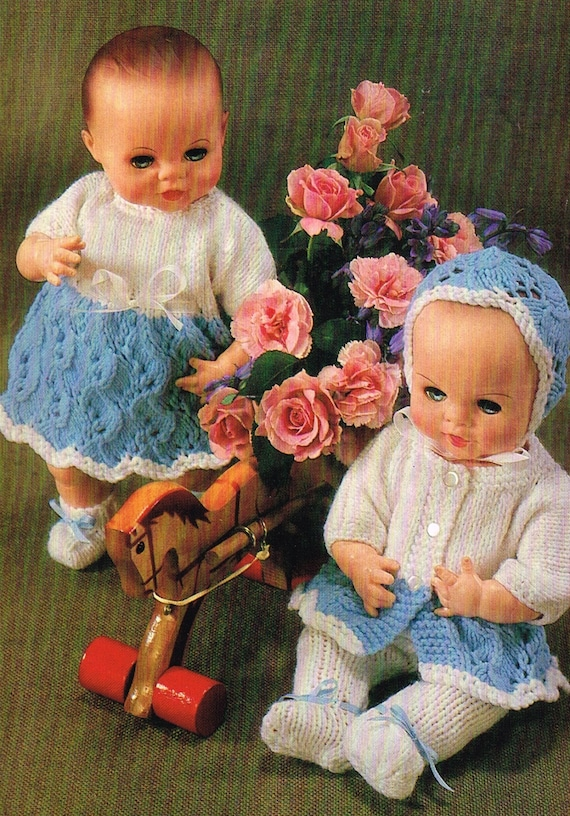 Dolls clothes knitting pattern for 12 inch doll. PDF Instant