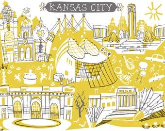Wall Art-Kansas City-Art Print-City Illustrations-10x8