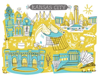 Wall Art-Kansas City-Art Print-3 Color-City Illustrations-10x8-Turquoise-Yellow-Grey