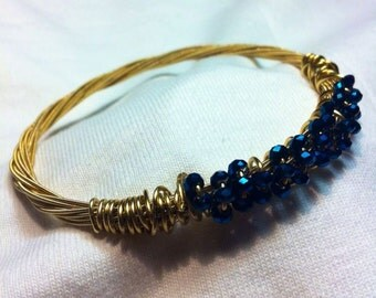 Guitar Strings Bangle Bracelet Sapphire Crystals