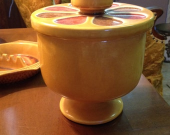 Mid Century Modern covered pottery dish