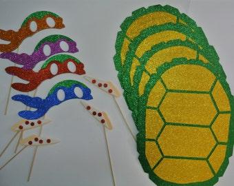 Teenage Mutant Turtles Photo Booth Props set of 4 Ninja  MasksTeenAge  4 Shells 4 Pizza Slices
