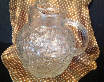 vintage Anchor Hocking clear textural glass pitcher