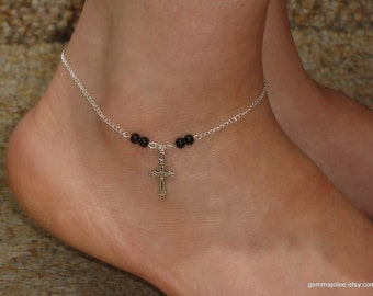 Silver cross onyx anklet, Cross onyx ankle bracelet, Cross jewelry, Silver cross onyx anklet, Ankle bracelet uk