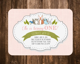 Woodland Critters Birthday Invitation; Pink; Printable or set of 10