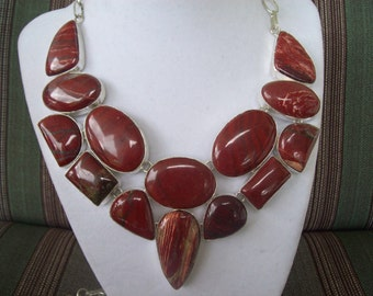 SALE - Red Jasper Statement Necklace