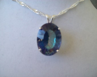 XXL Oval Blue Mystic Pendant in Sterling Silver 25x18 mm