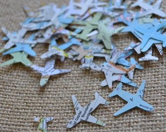 atlas airplane confetti, map confetti, wedding confetti, going away confetti- 150 pieces