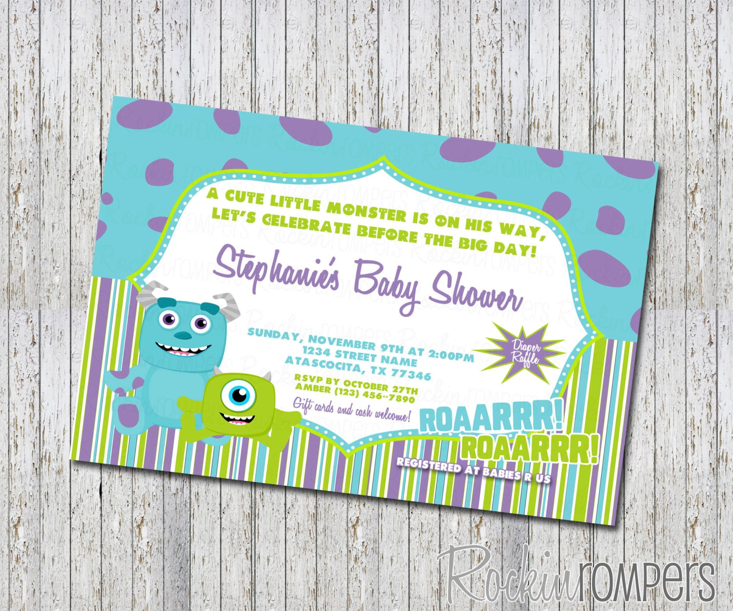 monsters inc inspired baby shower invitation by rockinrompers, Baby shower