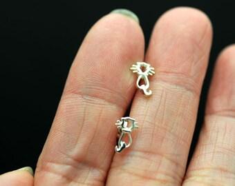 little cat studs, kitten sterling silver stud earrings post earrings Easter studs kids jewelry cute studs  - spring studs