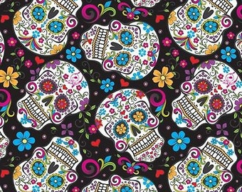 Folkloric Skulls on Black from David Textiles, Colorful, Fun Fabric (By YARD)~