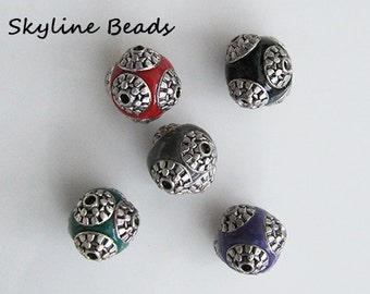 Indonesia Beads, Handmade, Mixed Colors with Silver Metal Embellishments - 15mm x 14mm