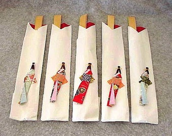 5 Japanses Wooden Chopsticks in Sleeves with Origami Geisha Girls on the Front