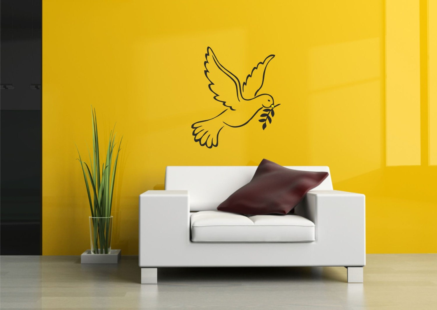 White Dove Wall Decor: Dove birds wedding decor vinyl wall decal ...
