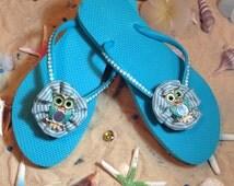 Gorgeous teal blue owl flip flops with swarovski flip flops size 9! End of season SALE!!