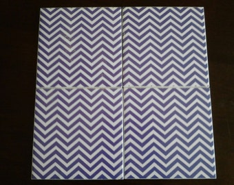 Set of 4 decoupaged tile coasters. Purple and white chevron pattern.