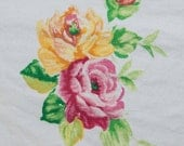 """14"""" drop dust ruffle ~ Westpoint Stevens KING bedskirt in chintz yellow pink roses with green stems Cottage chic KING bedskirt home staging"""