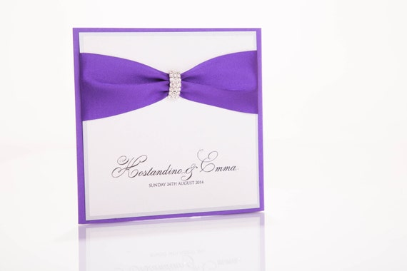 Cadbury Purple Wedding Invitations: Items Similar To Cadbury Purple Pocketfold Wedding