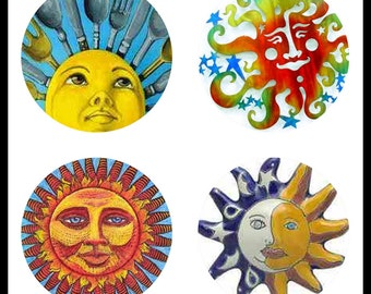 Sun Arts - Sunny Faces - Face Art - Digital Downloads - Collage Sheets - 30mm Suns - 30mm Pendants - Bottlecaps - Suns - DDP425