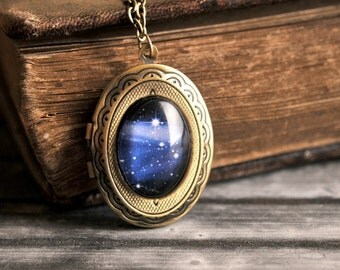 Milky way photo locket, antique brass photo locket, picture photo locket, milky way necklace, photo locket necklace, Some Magic