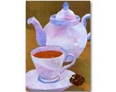 A Cup of Tea - Greeting Card or Art Print - Tea Party Invitation - Friendship Card - Kitchen Decor - Tea Shop Wall Art (CMEM2013031)
