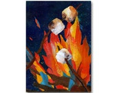 Roasting Marshmallows - NOSTALGIA CARD or Print with a Free Mat - Childhood Memories  -Camping -1950's Retro Art Card (CMEM2013091)
