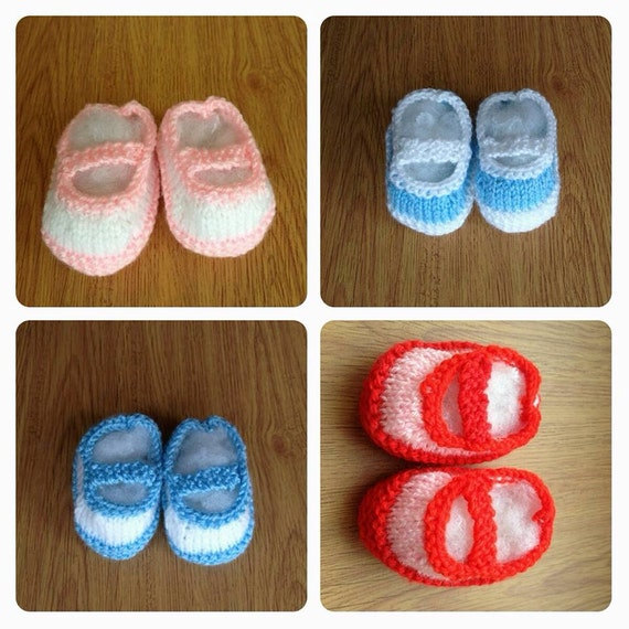 Knitted mary jane baby booties 0-6 mths