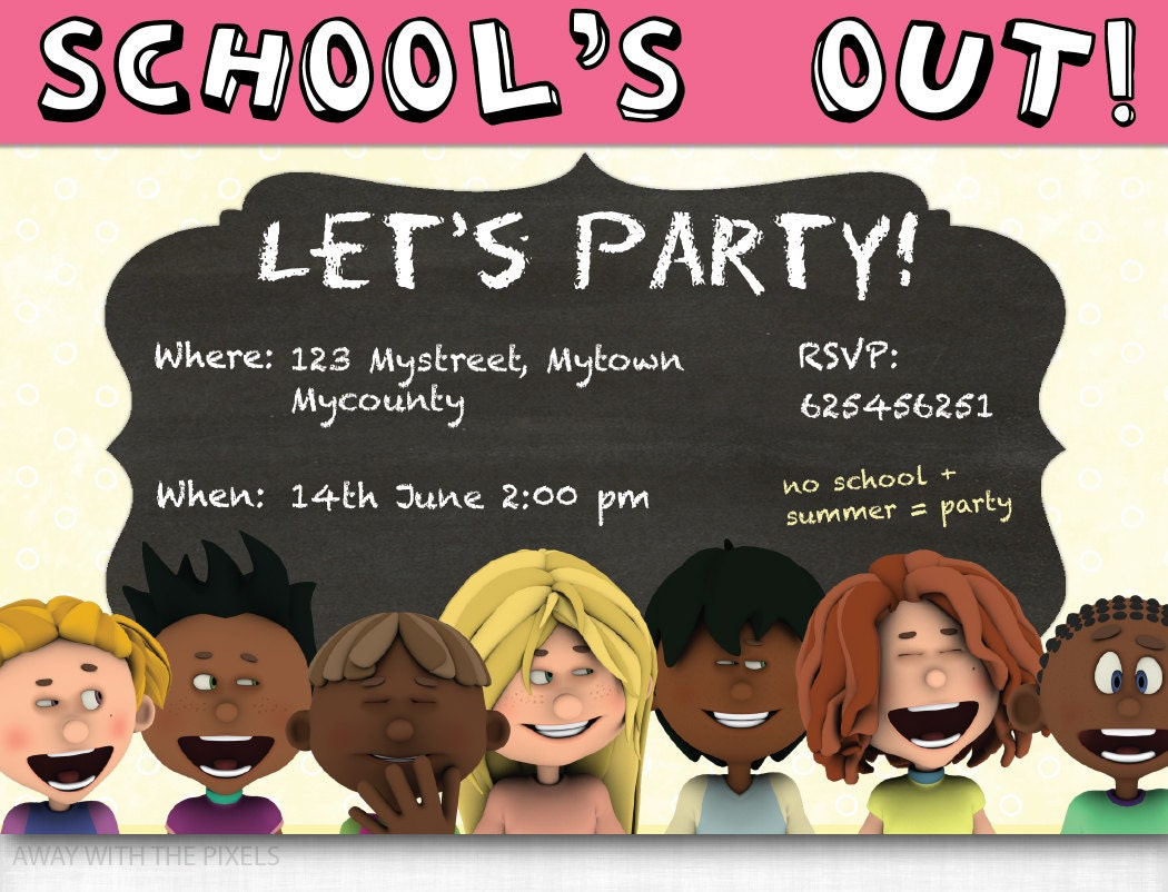 Custom Party Invitation To Print School's Out Let's
