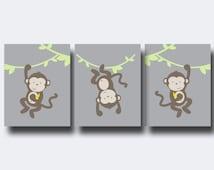 Monkey Nursery Wall Art Print, Green and Brown Jungle Nursery Prints, Baby Boy or Girl Nursery Wall Art Print, Bedroom Decor N238,239,240