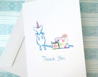10 Thank you Greeting Cards with Mouse