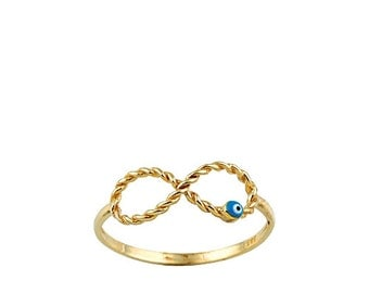 Twisted Infinity Evil Eye 14k Solid Gold Ring