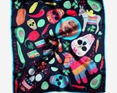 Taco Night silk scarf by Vacation Days x Karen Mabon