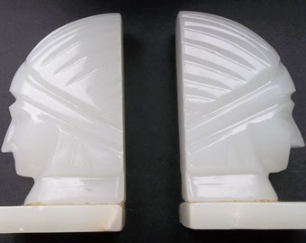 Beautiful vintage onyx book ends. Art Deco. 1930s to 1950s.