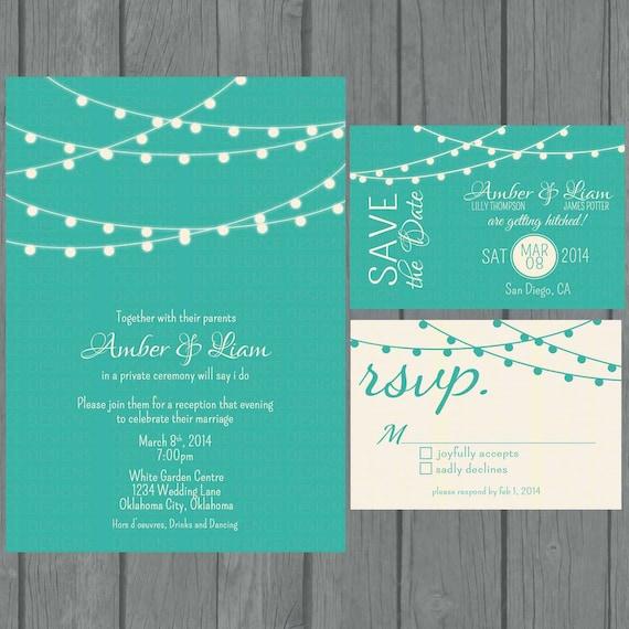 Digital String Lights Wedding Invitation teal non