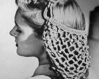 Beaded Hair Snood, Vintage Wartime Era Crochet Pattern, INSTANT DOWNLOAD PDF