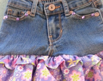 upcycled jean skirt for infants, toddlers, and girls