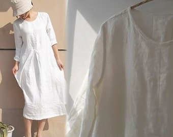 149---Linen Pleated White Dress, made to measure.
