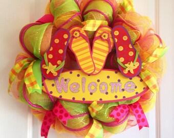 Welcome Summer Deco Mesh Wreath