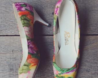 1960s Shoes // Floral Proctor Garmin Pumps // Vintage Floral Ribbed Heels