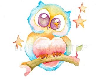 Owl Nursery Art - Owl Watercolor Print - Owl Children's Art - Owl Watercolor Painting - Kids Wall Art - Owl Illustration - Owl Print