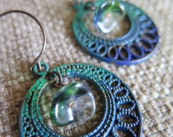 blue and green earrings, indigo and teal earrings unique boho earrings, ombré earring, bohemian earrings, cobalt earrings, filigree jewelry