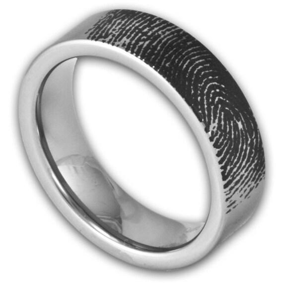 6MM Flat Tungsten Wedding Band Fingerprint By RogueRiverJewelry