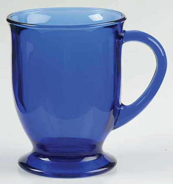 New 1 Large Anchor Hocking Cobalt Blue Large Glass Coffee