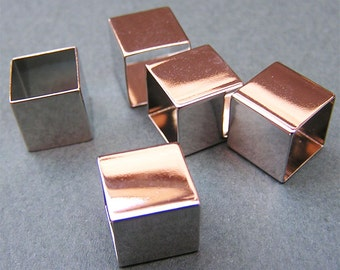 10mm Silver Square Tube Bead 3d Geometric Jewelry Supply Sale 8 pcs