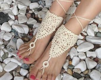 Crochet Barefoot Sandals, Beach wedding, Ivory barefoot sandals, Barefoot sandles, Foot jewelry, Wedding, Bridal, Bellydance, Beach wedding